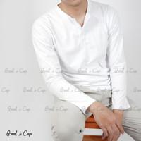 Baju Kaos Polos Henley Lengan Panjang Pria
