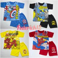 Bisa COD/Stelan baju anak laki-laki motif super hiro termurah
