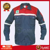Baju safety wearpack kemeja atasan abu merah werpak katelpak