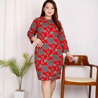 BM - Liesl Jumbo Red Dress Baju Wanita Big Size Imlek SRP