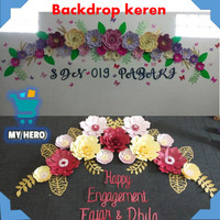 hiasan dinding backdrop paper flower pesta ulang tahun pernikahan