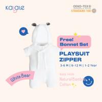 Playsuit Bonnet Set (Romper / Jumper Anak dan Bayi) - Kalale - White