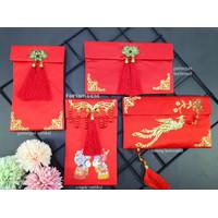 Angpao Sangjit Lamaran Kawinan Wedding Kain Merah Premium Vertikal