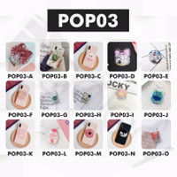 Popsocket Glitter Liquid Karakter Bubble Tea Pop Socket Qui
