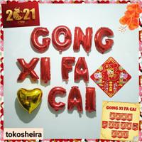 Balon Gong Xi Fa Cai Tempelan Fu Set Balon Dekorasi Imlek Shio Kerbau