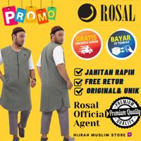 ROSAL Rompi Sholat Bahan Kaos Oblong Zipper Jumbo Rompi Shalat Kaftan - XXXL, Hijau
