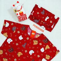 Baju Tidur Merah HOKI Celana Panjang Katun (honey)