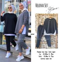 Baju Celana Setelan Wanita Terbaru Velova Premium Kaos Babyterry Impor