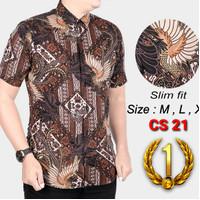 Baju Batik Pria Kemeja Batik Pria Slimfit Lengan Pendek Coklat CS26