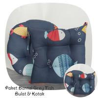Bantal Duduk Premium - Alas Kursi Lesehan (Bulat & Kotak) - Grey Fish