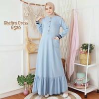 Ghefira Dress Jeans Wanita Terbaru Gamis Levis Busui Baju Muslim Jins