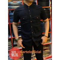 Atasan Kemeja Pria Denim Jeans Lengan Pendek Kantong Dua - Cartel