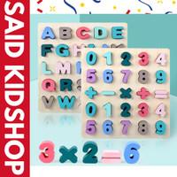 Puzzle Kayu Huruf Angka dan Bentuk