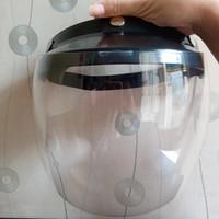 face shield helm bahan polycarbonate warna hitam bisa naik turun