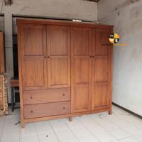 Lemari 4 Pintu 2 Laci - Almari Pakaian Kayu Jati - wardrobes