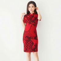 Baju Batik Wanita/Dress Batik Wanita Cheongsham Red Swan Size M & L