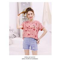 Kaos Couple Tee Dewasa Mickey koran T-Shirt full print import premium - Pink, Female, S