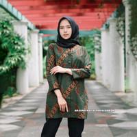 baju atasan blouse batik wanita premium lapis full furing TE006 - Hijau, S
