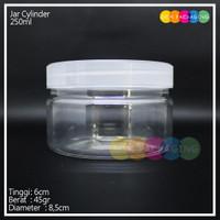 Jar toples plastik cylinder bulat 250ml ulir pet natural tebal - Natural