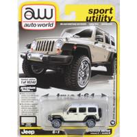 Miniatur Jip SUV Off Road Diecast Auto World 64 Jeep Wrangler Beige
