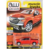 Miniatur Diecast Auto World 64 Chevrolet Silverado LTZ Pickup Red