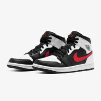 Air Jordan 1 Mid Black Chile Red White 554724-075 100% Authentic