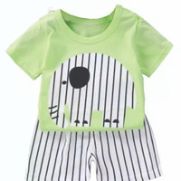 baju setelan anak laki-laki import / baju anak import - Gajah ijo, 55/80 3-12 bln