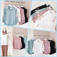 baju atasan wanita terbaru korea   Flori shirt   kemeja blouse bordir