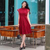 mini dress lengan pendek brukat brokat wanita red imlek CNY premium