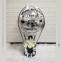 sz L balloon box silver/buket balon/bunga balon/kado wisuda