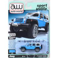Miniatur Jip SUV Off Road Diecast Auto World 64 Jeep Wrangler Blue