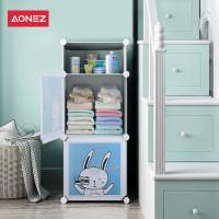 Aonez lemari plastik / lemari pakaian / wardrobe anak 2 muka 3 slot - Putih, All Size