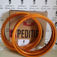 Velg pelek EXPEDITION Supermoto 300 350 ring 17 set Dpn Belakang Gold