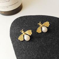 anting fashion bee pearl earrings jan224