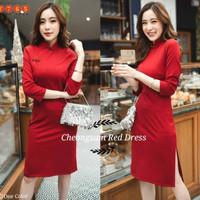 cheongsam dress simple - Pakaian wanita Imlek / happy lunar / imlek