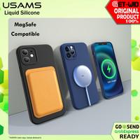 Liquid Silicone MagSafe Case iPhone 12 Pro Max 12 Pro 12 Mini Usams - iPhone 12, Hitam