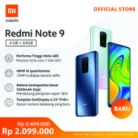 Xiaomi Official Redmi Note 9 4/64 GB Garansi Resmi Mi Smartphone