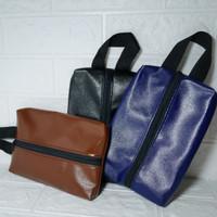 Pouch Bag Tissue Basah/Kering Bahan Kulit Vinil Polos Anti Air