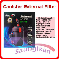 Canister External Filter Aquarium Aquascape SAKKAI PRO EF 500