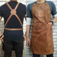 Full sintetis leather apron quantum premium for barista + embossed