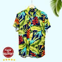 Baju kemeja surfing motif bunga Bali Tropical Summer Aloha Hawaii