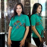 Kemeja Kaos Polo T-shirt Kerah Batik Wanita Casual Hijau Tosca Murah