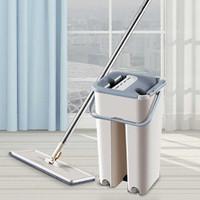 Alat Pel+Bak Pengering Magic Mop Flat With Bucket Alat Pel Hand Free - Gray