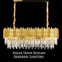 lampu gantung kristal panjang 100cm 12l gold mewah meja makan