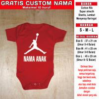 kaos Bayi Jordan Basket Gratis Custom Nama kaos romper newborn - Merah-Putih, S