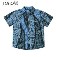 Torio Indonesian Smart Casual Blue Batik - Kemeja Batik Anak Laki-Laki