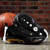 Sepatu Basket Nike Air Jordan 34 Black Gold White