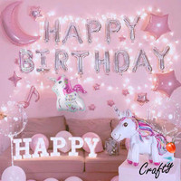 [PAKET] Kids BIRTHDAY Set UNICORN LED Dekorasi Backdrop Ulangtahun - HAPPY BIRTHDAY