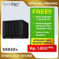 SYNOLOGY DS920+ NAS Network Storage 4Bay Backup Server Desktop Plus2