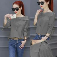 Fashion Baju Atasan Blouse Casual Wanita Korean Style Kekinian Murah - Abu-abu, L